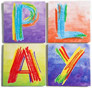 Unhindered Images Inspirational Play Sign for PLAYROOM Wall Decor. A Bright Boys Room Wall Decor Item As Well As A Wonderful Set for Little Girls Room Decor That Brings A Splash of Rainbow Decor.