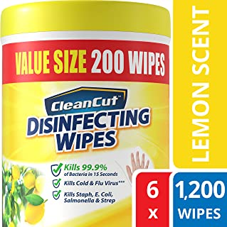 Disinfecting Wipes by Clean Cut, Lemon Scent, Value Size 200 Wet Wipes (Pack of 6, 1200 Total Wipes)