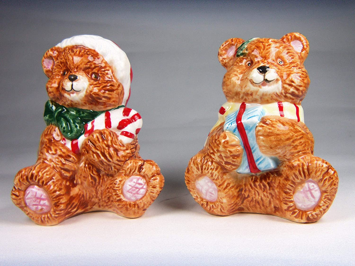 Fine Ceramic Christmas Teddy Bear Holding Popular product Candy Cane Be super welcome Present and