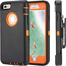 iPhone 6 Case, iPhone 6s [Heavy Duty Protection] [with Kickstand] 4 in 1 Rugged Shockproof Cover Holster Case with Built-in Screen Protector for Apple iPhone 6/6S Black/Orange