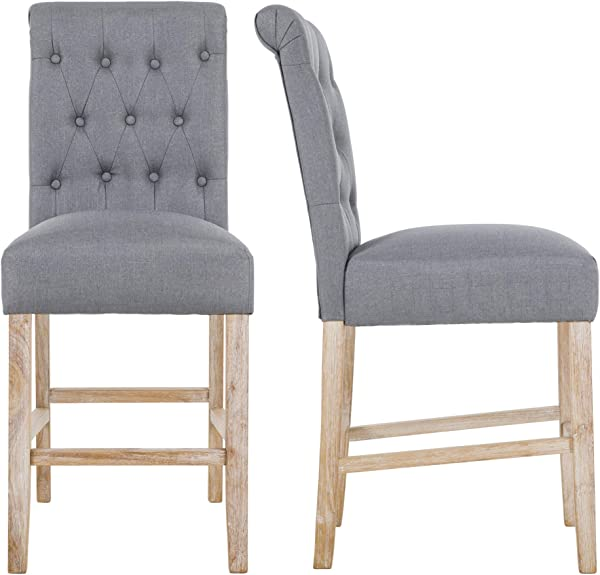 NOBPEINT Fabric Upholstered Barstool Dining Chair Solid Wood Legs 24 Gray Set Of 2
