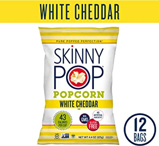 SkinnyPop White Cheddar Popped Popcorn, Individual Bags, Gluten Free Popcorn, Non-GMO, No Artificial Ingredients, A Delicious Source of Fiber, 4.4oz (Pack of 12)
