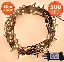 Fairy Lights 500 LED 50m Warm White Indoor/Outdoor Christmas Lights String Tree Lights Festival/Bedroom/Party Decorations Memory Timer Mains Powered 164ft Lit Length 10m/32ft Lead Wire Green Cable