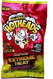 WarHeads (1) bag Hotheads Tropical Extreme Heat Worms - Molten Mango, Lava Lime, Piping Hot Pineapple - Chewy Gummy Candy 8 oz
