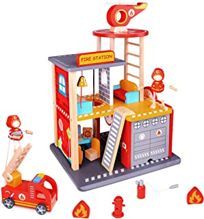 USA Toyz Wooden Fire Station Playset - 16pc Wood Fireman Toys w/ Toy Fire Truck and Rescue Helicopter