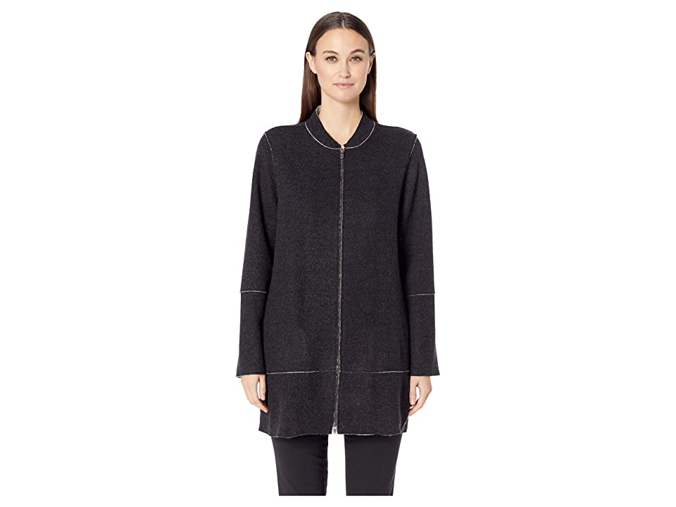 Eileen Fisher Felted Merino Double Knit Stand Up Collar Jacket (Black/Soft White) Women