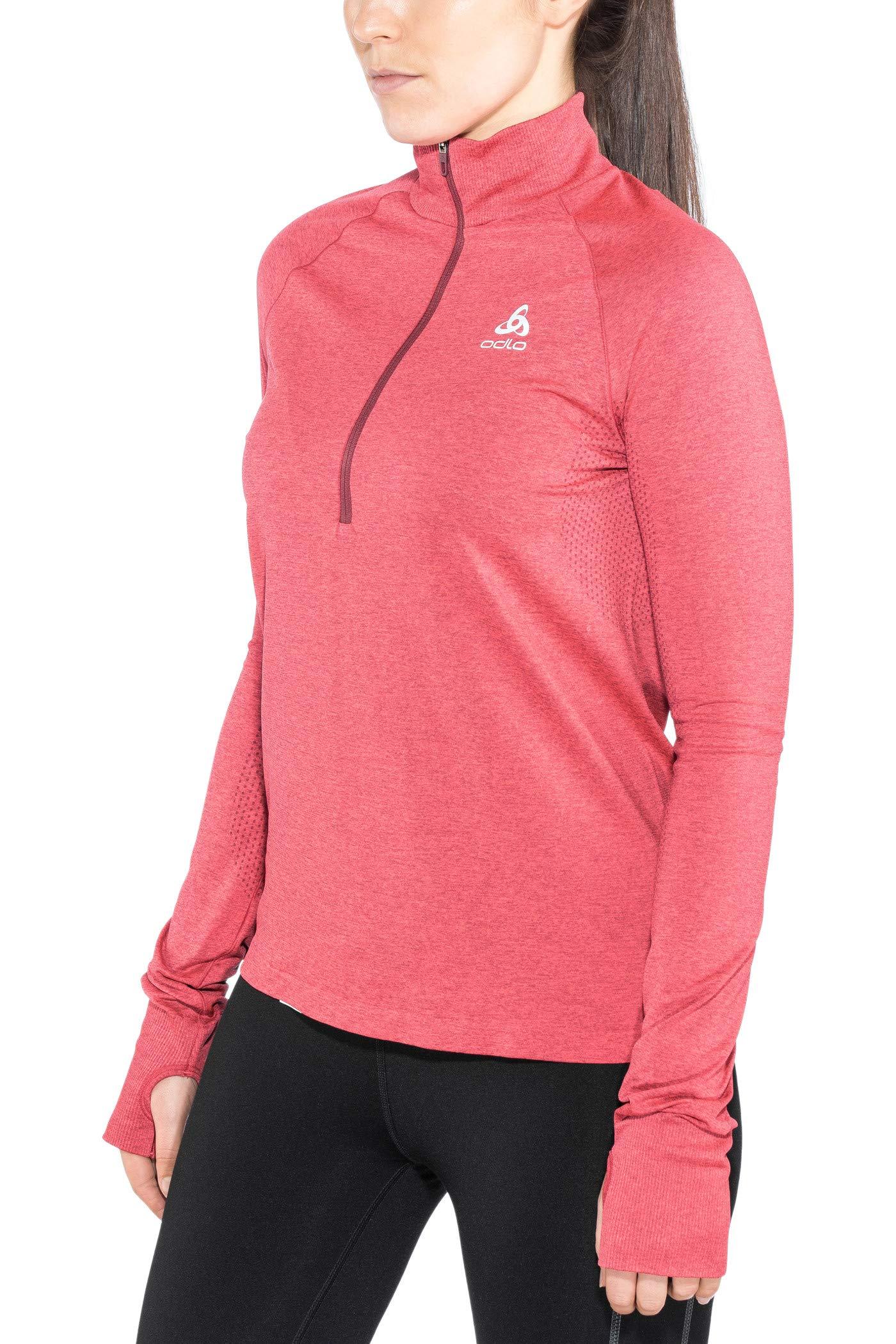 Odlo Damen Midlayer 1/2 Zip Irbis Warm Pullover, Rumba red/Hibiscus, L