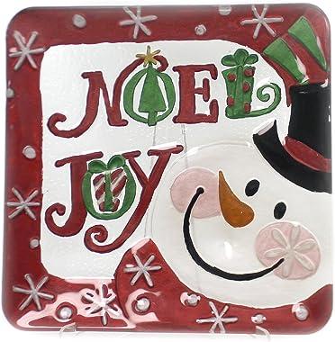 Tabletop Snowman Fusion Plate, Glass, Christmas, Decorative Platters, 2009190 Noel