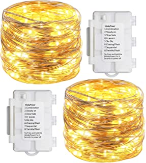 Koopower 2 Pack 33ft 100 Led Fairy Lights 8 Modes with Timer Twinkle Lights Indoor/Outdoor Waterproof Battery Operated Sil...