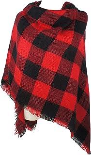 VIVIAN & VINCENT Women`s Plaid Blanket Winter Scarf Warm Wrap Oversized Shawl Cape