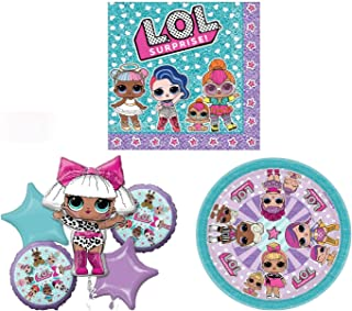 LOL Surprise Doll Party Pack - Includes Plates, Napkins and a 5 piece Balloon Bouquet