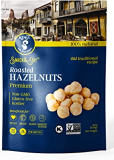 AZNUT Roasted Unsalted Hazelnuts , Premium Quality 100% Natural Non-GMO Project Certified, Kosher Certified, No Salt, No Oil, Gluten Free, Keto Diet Snacks, Resealable Bag 1 LB
