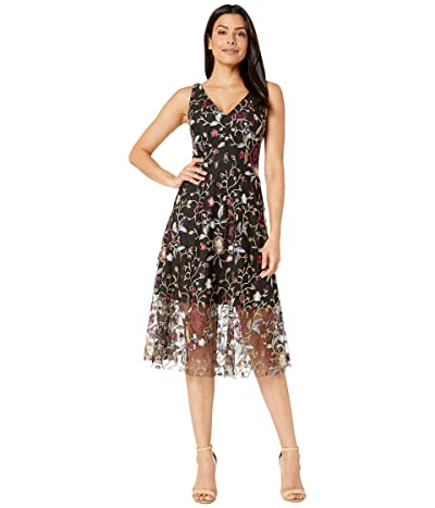 Vince Camuto Embroidered Mesh Midi Dress with V-Neck (Black Multi) Women