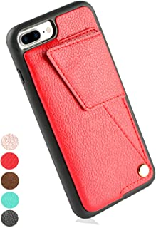 ZVEdeng iPhone 7 Plus 8 Plus Case with Wallet Card Holder, Wallet Case with Credit Card Slot Holder Case Money Pocket Magnetic Flip Case Shockproof Cover PU Leather Case-Red
