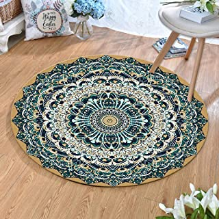 Round Rugs Thin and Light Carpet,for Living Room & Bedroom & Computer Chair Non-Slip Short Hairs Mats (Size : 100CM),2