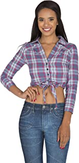 S&P Womens Plaid Shirts Blue Red Yarn Dye Button Up Collared Crop Tops Tied Front