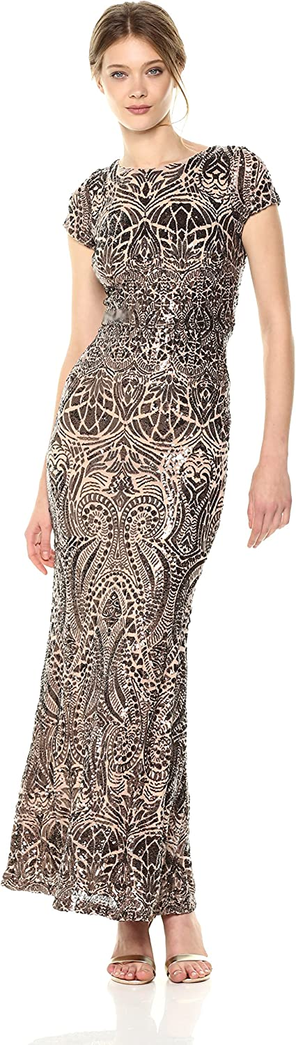 Betsy & Adam Womens Cap Sleeve Long Sequin Gown Cocktail Dress