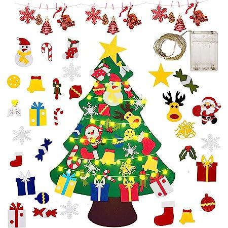 Gudotra Kit Feltro Albero di Natale per Bambini+25pz Ornamenti Velcro Staccabili+ LED Catene Riutilizzabile Regali di Natale Decorazione della Parete Portello Vetrine