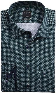 OLYMP Luxor - Camisa de manga larga con bolsillo en el pecho, cuello de tiburón, estampado verde
