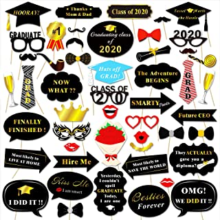 Graduation Photo Booth Props (50Count), Konsait Large Graduation Photo Props Class of 2020 Grad Decor with Sticks for Kids Boy Girl, Black and Gold, for Graduation Party Favors Supplies Decorations