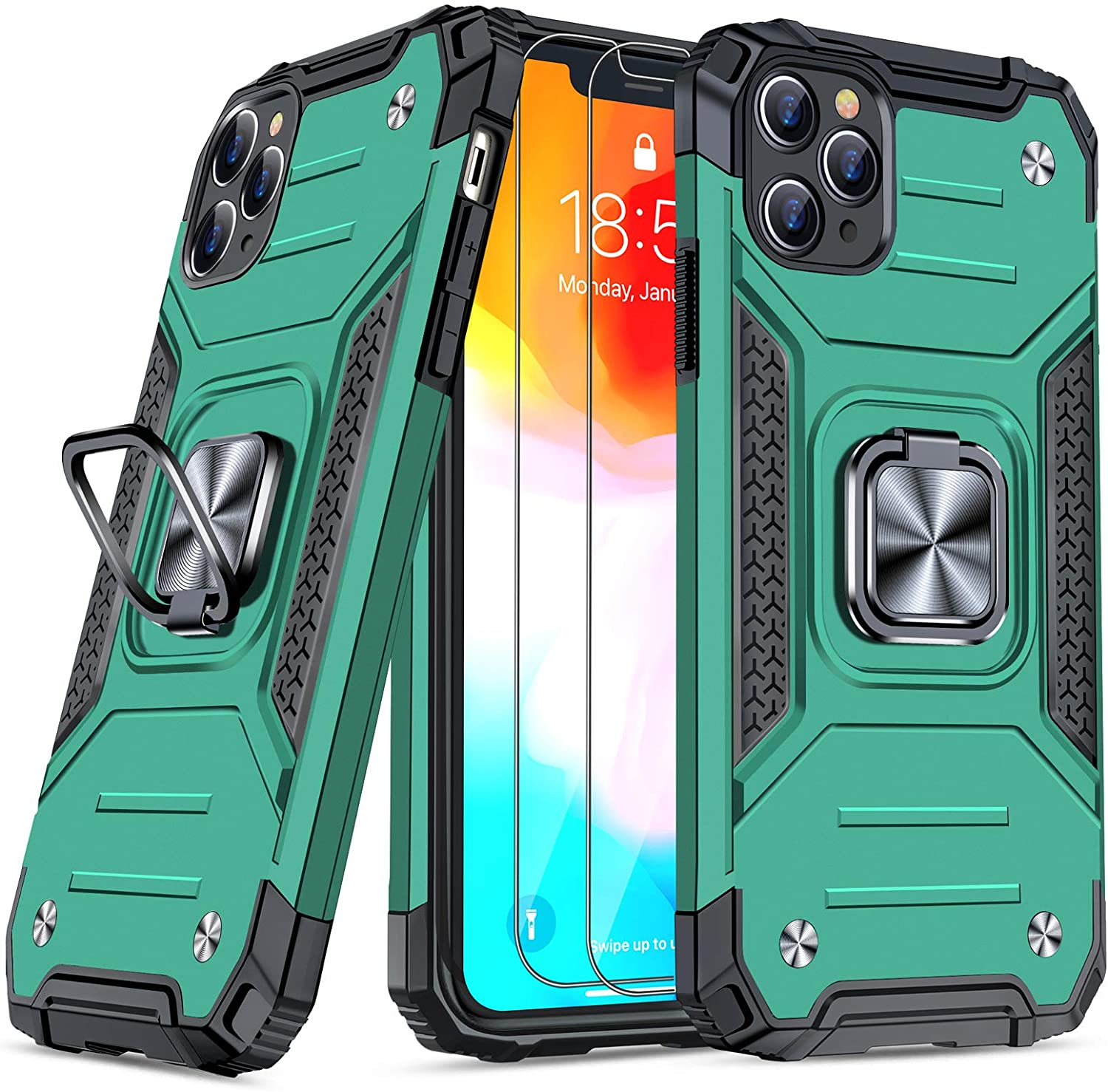 JAME Case for iPhone 11 Pro Max Case with Screen Protectors 2Pcs, Military-Grade Drop Protection, Shockproof Protective Phone Cases Cover Car Mount Ring Kickstand Case for iPhone 11 Pro Max Green