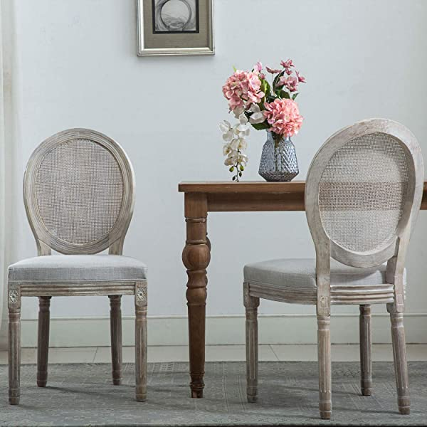 French Dining Chairs Distressed Elegant Tufted Kitchen Chairs With Round Fine Rattan Back Set Of 2 Light Beige