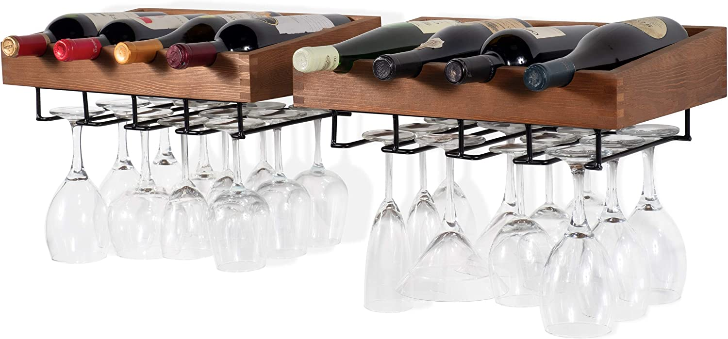 Brightmaison Wall Mounted Walnut Stained Wood Wine Stem Rack for 4 Bottles and Stemware Glass Storage Display Holder (Set of 2)
