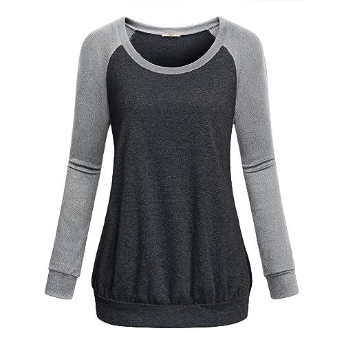 eccb611e Cestyle Womens Crew Neck Long Raglan Sleeve Casual Lightweight Pullover  Sweatshirt