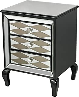 Black Diamond Chest in Clear and Smoked Mirror, Gloss Black