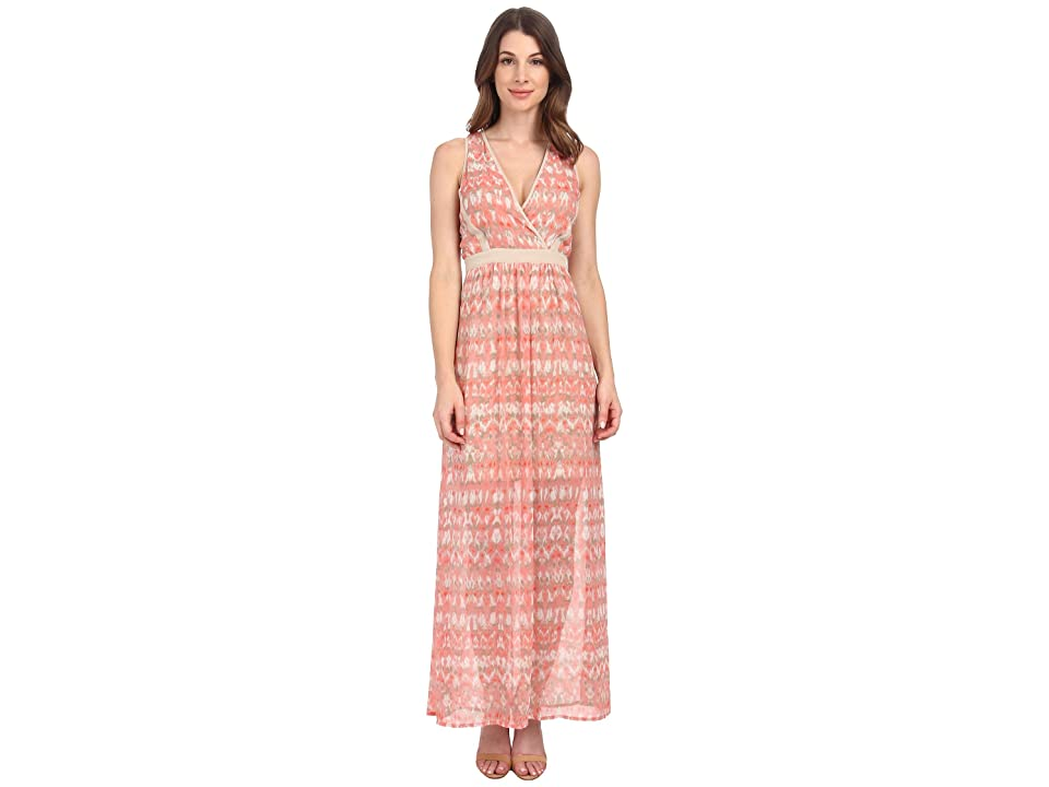 Calvin Klein V-Neck Chiffon Dress (Porcelain Rose/Latte Multi) Women