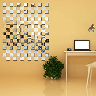 Best Decor 100 Chips Square Silver Code 648 Acrylic Mirror 3D Wall Sticker Decoration for Kids Room/Living Room/Bedroom/Of...
