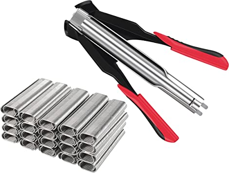 KING PIECES Hog Ring Pliers Kit Fencing Manual Plier Staple Gun With 2500pcs C7 Hog Rings C-type Clip Fastening Clamp Installation Equipment Tool for Animal Wire Fence Birdcage Mattresses Car Cushions: image