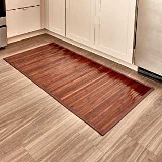 iDesign Formbu Bamboo Floor Mat Non-Skid, Water-Resistant Runner Rug for Bathroom, Kitchen, Entryway, Hallway, Office, Mudroom, Vanity , 48