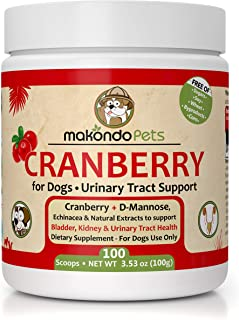 Cranberry for Dogs Powder Supplement – UTI Natural Remedy Urinary Tract Support for Incontinence, Bladder Leakage – 3.53 o...