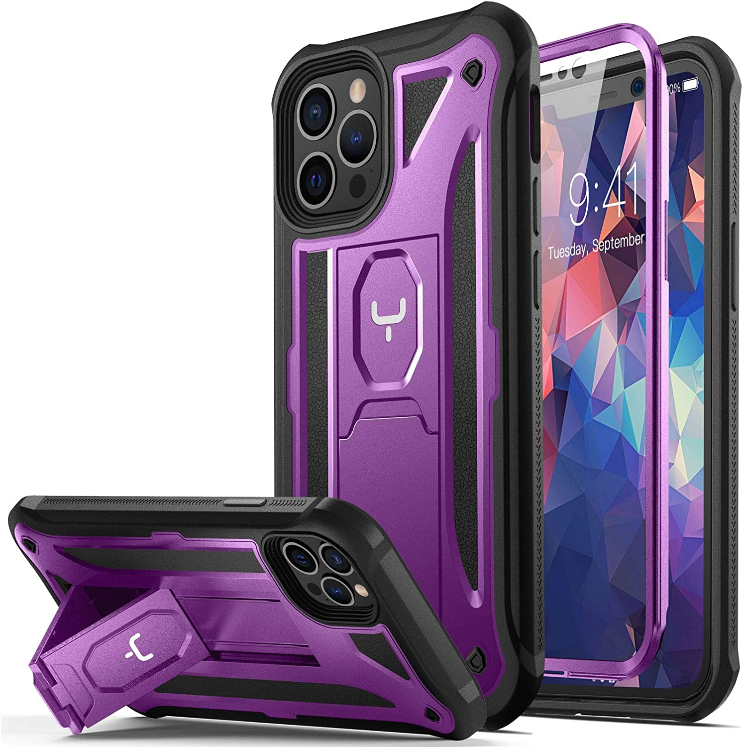 YOUMAKER Designed for iPhone 12 Case & iPhone 12 Pro Case Heavy Duty Protection Kickstand with Built-in Screen Protector Shockproof Cover for iPhone 12/12 Pro Case 6.1 inch - Purple