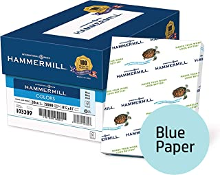 Hammermill Colored Paper, Blue Printer Paper, 20lb, 8.5x11 Paper, Letter Size, 5000 Sheets / 10 Ream Case, Pastel Paper, Colorful Paper (103309C)