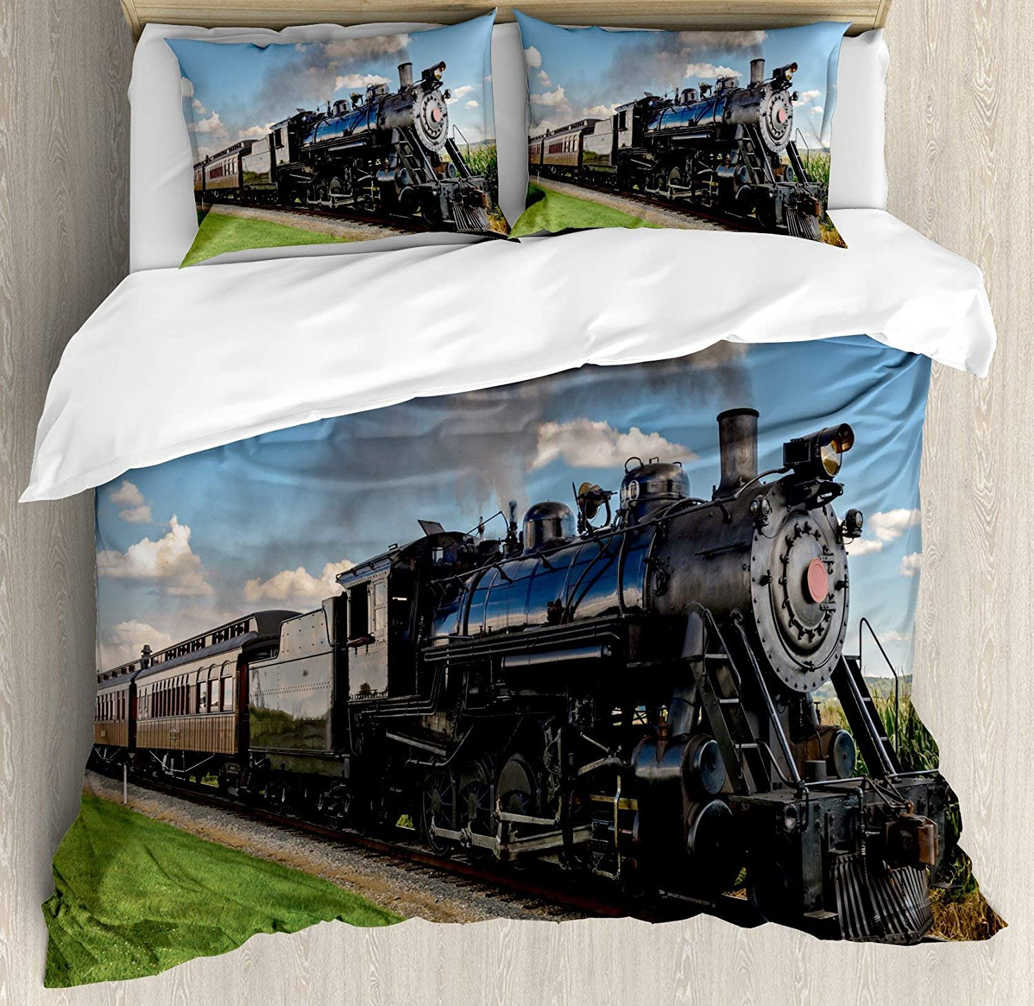 Steam Engine 4pc Bedding Set Twin Size, Vintage Locomotive in Countryside Scenery Green Grass Puff Train Picture Floral Lightweight Microfiber Duvet Cover Set, bluee Green Black