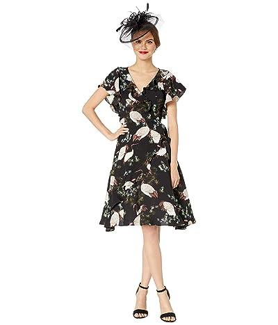 Unique Vintage 1940s Crane Print Luella Wrap Dress (Black/White) Women