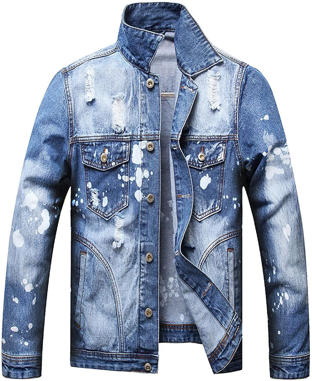 JSPOYOU Mens Distressed Ripped Jean Jacket Long Sleeve Button Down Denim Coat Autumn Slim Fit Trucker Jacket Outerwear