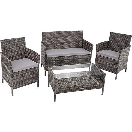 TecTake Salon de Jardin en Résine Tressée avec 1 Table Basse, 1 Canapé, 2 Chaises INCL. Coussin d'Assise Amovible - Diverses Couleurs (Gris)