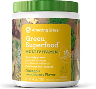Amazing Grass Green Superfood Multivitamin: Super Greens Powder with 15 Vitamins & Minerals, Pineapple Lemongrass, 30 Servings