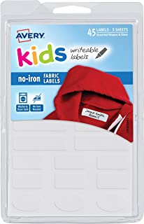 Avery No-Iron Kids Clothing Labels, Washer & Dryer Safe, Writable Fabric Labels, 45 Daycare Labels, 1 Pack (40700)