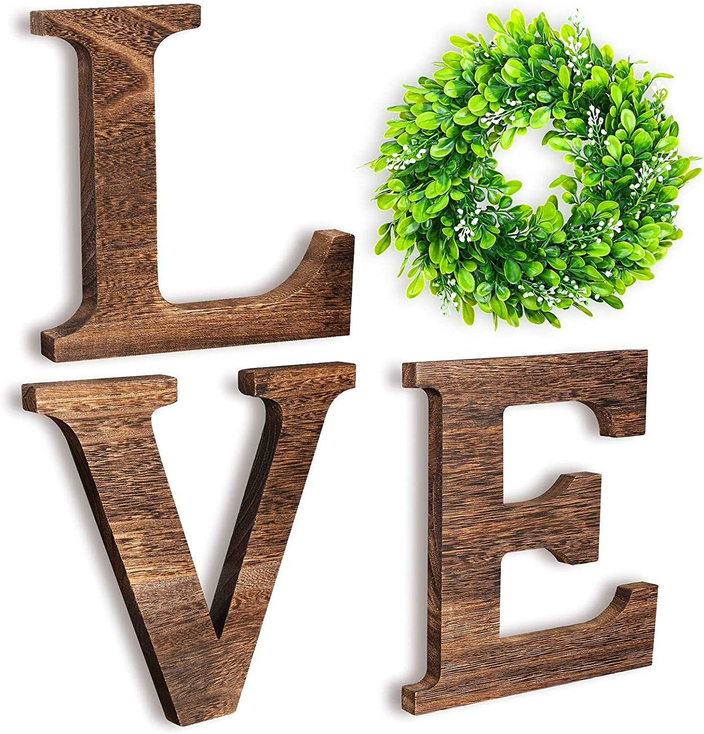 Wooden Love Home Sign with Artificial Wreath for Farmhouse Wall Decor, Rustic Hanging Love Wood Letters Decoration (Brown)