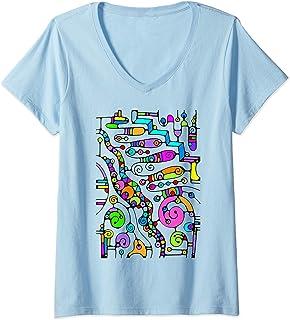 Femme Esquisse d'art fantastique - Lines of Power 4 - Fan Fun T-Shirt avec Col en V
