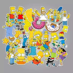 Cartoon Sticker Pack (50Pcs) The Simpson Waterproof Vinyl Stickers for Water Bottles,Laptop,Kids,Cars,Motorcycle,Bicycle,Skateboard Luggage,Bumper Stickers Hippie Decals Bomb