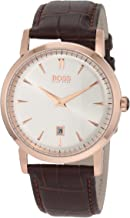 Hugo Boss Classics White Dial Gold Tone SS Brown Leather Male Watch 1512634