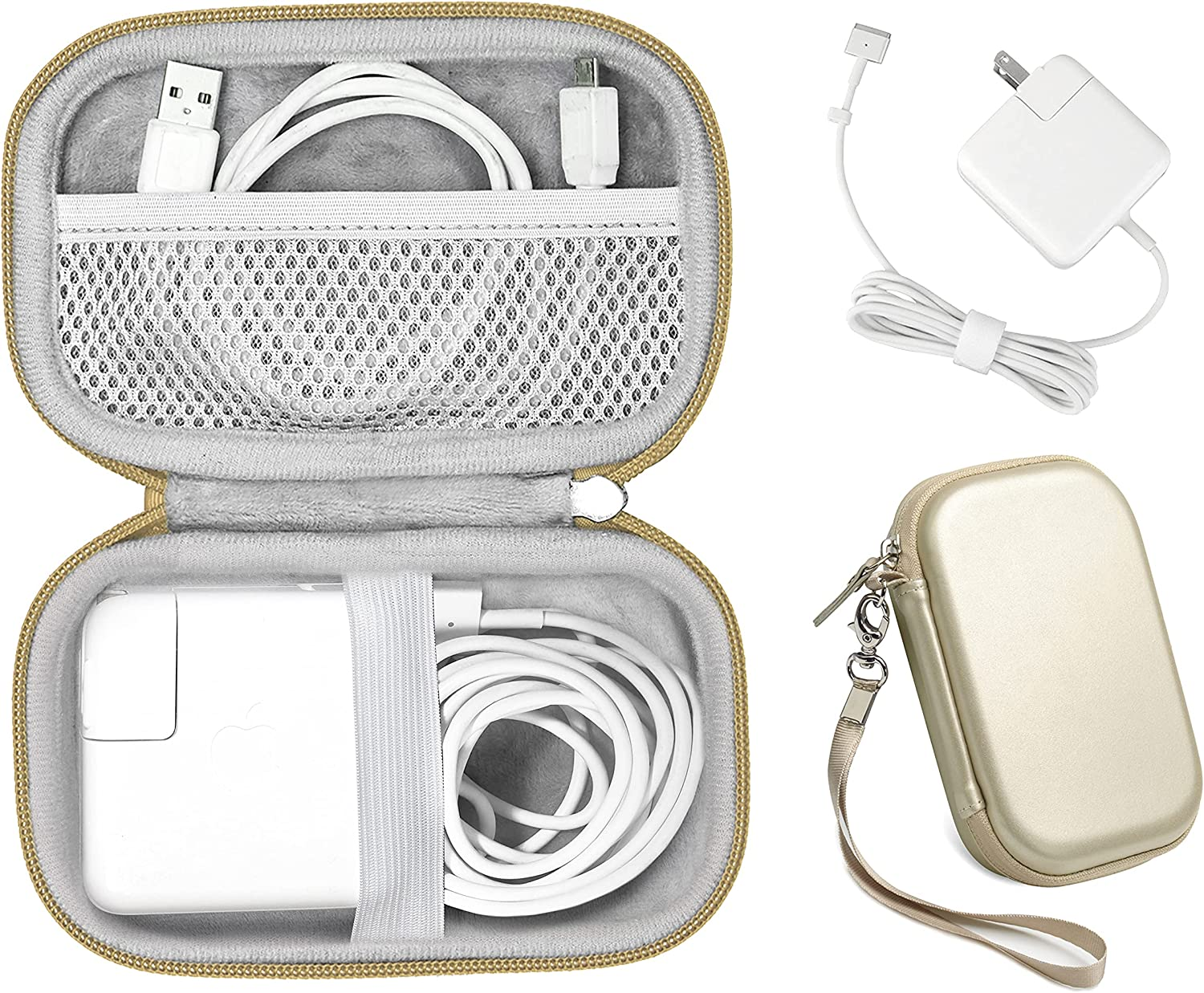 Handy Protective Case for MacBook Air Power Adapter, Also Good for USB C Hub, Type C Hub, USB Multi Ports Type c hub, Featured Compact case for Easy Storage and Protection, mesh Pocket (Gold)