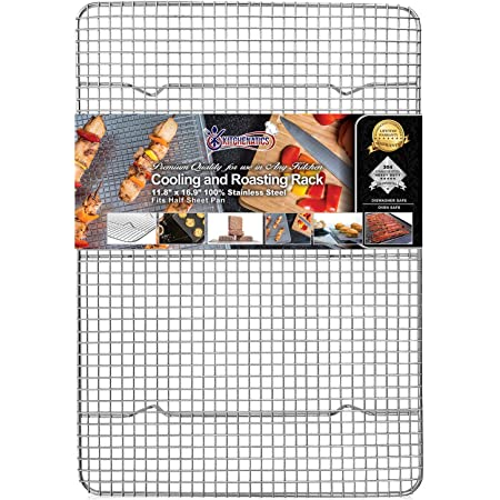 "KITCHENATICS Half Sheet 100% Stainless Steel Roasting & Cooling Rack, 1/2 Sheet Oven-Safe Rack with Patent-Pending Multiple Welds, Thick Wire Grid, Use for Oven & Grill, Non-Toxic, 11.8"" x 16.9"" x 1"""