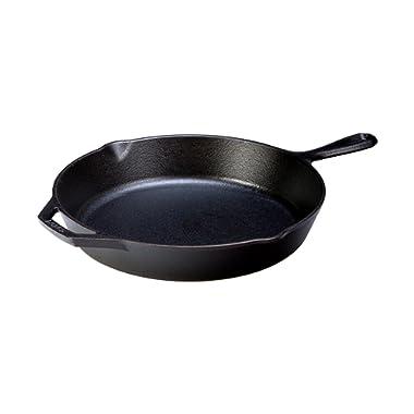 Lodge Seasoned Cast Iron Skillet - 12 Inch Ergonomic Frying Pan with Assist Handle