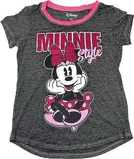 Disney Minnie Mouse Girls Ringer T-Shirt Glitter Print
